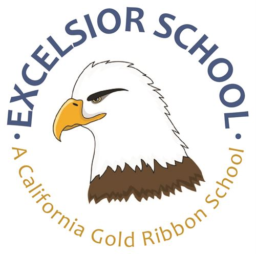 Excelsior School - a California Gold Ribbon School - an eagle head in the center of the logo